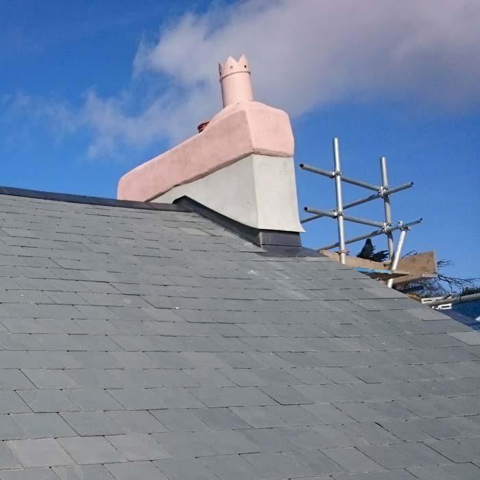 Leadwork on a chimney